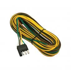 """4-Flat Wiring Harness Tow Plug Kit Trailer End Connector, 35 ft Wishbone Harness, 30"""" Ground"""