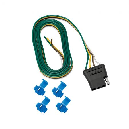 """4-Flat Wiring Harness Tow Plug Kit Car End Connector 48"""" Long (Includes 4 Wire Taps)"""