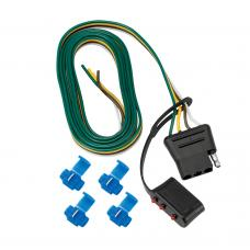"""4-Flat Wiring Harness Tow Plug Kit Car End Connector 60"""" Long (Includes 4 Wire Taps)"""