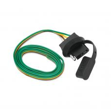 """4-Flat Wiring Harness Tow Plug Kit Car End Connector 30"""" Long, """"The Knockout"""" Connector"""
