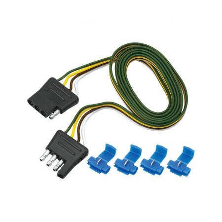 """4-Flat Wiring Harness Tow Plug Kit Plug Loop, 48"""" Long (Includes 4 Wire Taps)"""