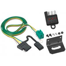 Trailer Wiring and Bracket and Light Tester For 96-03 Chevy Express GMC Savana 1500 2500 3500 w/Factory Tow Package 4-Flat Harness Plug Play