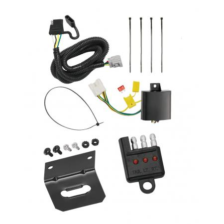 Trailer Wiring and Bracket and Light Tester For 10-19 RX350 10-18 RX450h Hybrid 2018 RX350L without Factory Tow Package 4-Flat Harness Plug Play