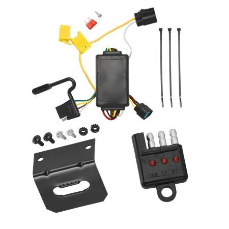 Trailer Wiring and Bracket and Light Tester For 07-12 Hyundai Santa Fe w/Factory Tow Package 4-Flat Harness Plug Play