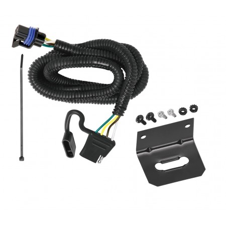 Trailer Wiring and Bracket For 10-16 Cadillac SRX w/Factory Tow Package 4-Flat Harness Plug Play