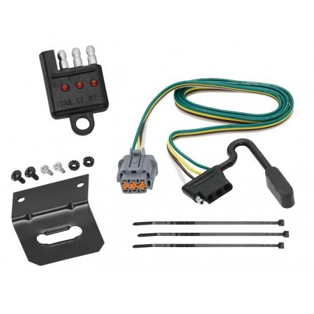 Trailer Wiring and Bracket and Light Tester For 05-20 Nissan Frontier 05-07 Pathfinder 05-15 Xterra 09-12 Equator 4-Flat Harness Plug Play