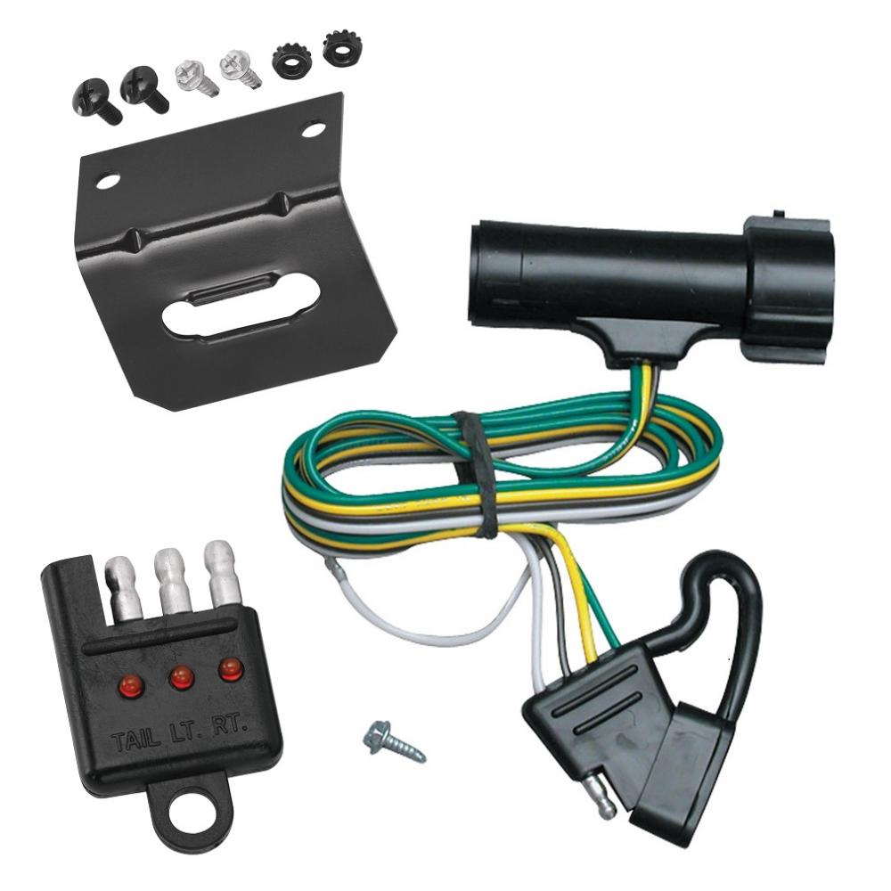 trailer wiring and bracket and light tester for 80-86 ford bronco f-150 250  350 80-83 f-100 83-85 ranger 4-flat harness plug play  trailerjacks.com