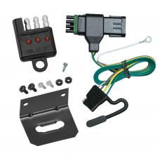 Trailer Wiring and Bracket and Light Tester For 88-00 Chevy GMC C/K 1500 2500 3500, Except 88-91 Crew Cab 4-Flat Harness Plug Play