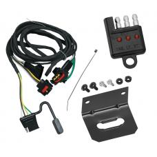 Trailer Wiring and Bracket and Light Tester For 91-95 Chrysler Town Country Dodge Caravan Grand Caravan Plymouth Grand Voyager 03-10 Dakota 06-09 Mitsubishi Raider 2011 Ram Dakota 4-Flat Harness Plug Play