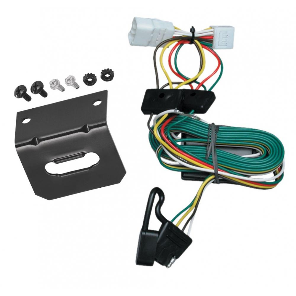 Trailer Wiring and Bracket For 97-01 Jeep Cherokee All Styles 4-Flat  Harness Plug PlayTrailerJacks.com