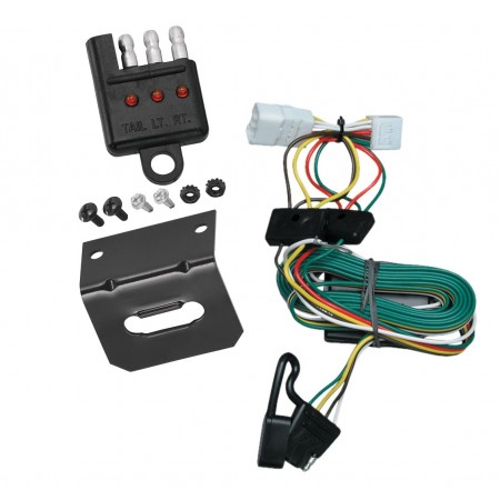 Trailer Wiring and Bracket and Light Tester For 97-01 Jeep Cherokee All Styles 4-Flat Harness Plug Play