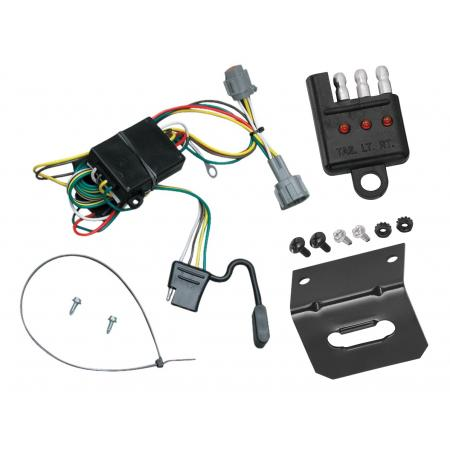 Trailer Wiring and Bracket and Light Tester For 98-04 Nissan Frontier 1998 Quest Mercury Villager 4-Flat Harness Plug Play