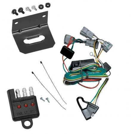 Trailer Wiring and Bracket and Light Tester For 01-06 Mitsubishi Montero Except Montero Sport 4-Flat Harness Plug Play