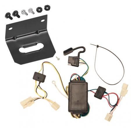 Trailer Wiring and Bracket For 01-05 Toyota RAV4 All Styles 4-Flat Harness Plug Play