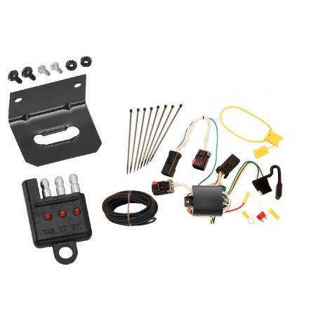 Trailer Wiring and Bracket and Light Tester For 07-09 Chrysler Aspen 04-09 Dodge Durango All Styles 4-Flat Harness Plug Play