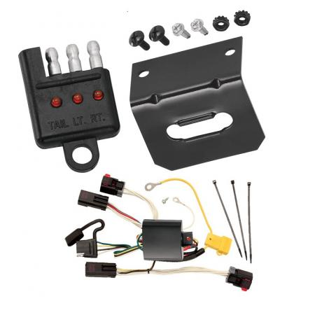 Trailer Wiring and Bracket and Light Tester For 08-10 Chrysler 300 05-07 300 C All Styles 4-Flat Harness Plug Play