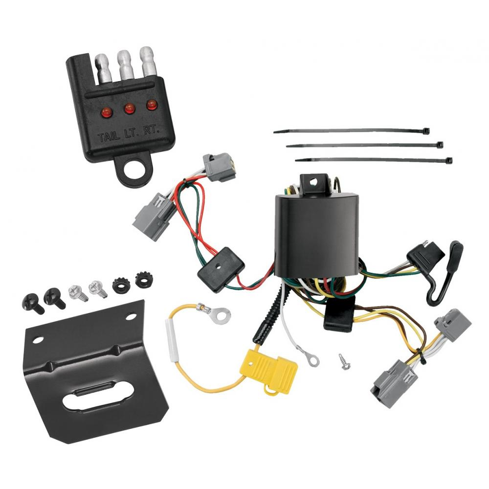 trailer wiring and bracket and light tester for 05-14 volvo xc90 all styles  4-flat harness