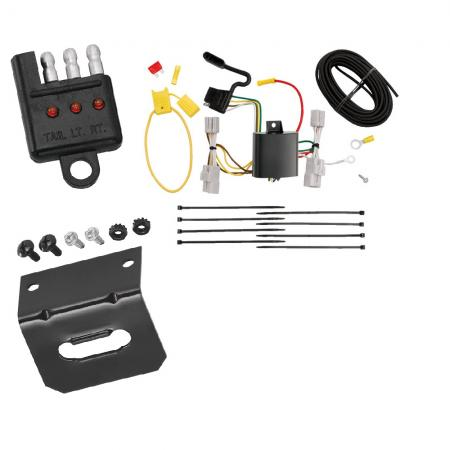 Trailer Wiring and Bracket and Light Tester For 06-12 Toyota RAV4 08-10 Sequoia All Styles 4-Flat Harness Plug Play