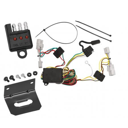 Trailer Wiring and Bracket and Light Tester For 06-11 Hyundai Azera 01-07 Toyota Highlander Except Hybrid 4-Flat Harness Plug Play