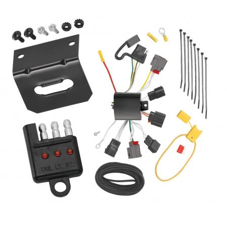 Trailer Wiring and Bracket and Light Tester For 07-10 Chrysler Sebring All Styles incl. Convertible 4-Flat Harness Plug Play