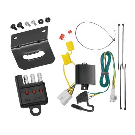 Trailer Wiring and Bracket and Light Tester For 08-19 Toyota Highlander All Styles 4-Flat Harness Plug Play