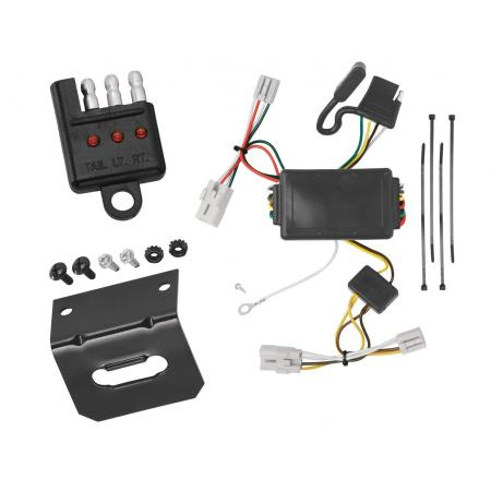 Trailer Wiring and Bracket and Light Tester For 09-12 Hyundai Elantra Touring 5 Dr. 01-06 Santa Fe 4-Flat Harness Plug Play