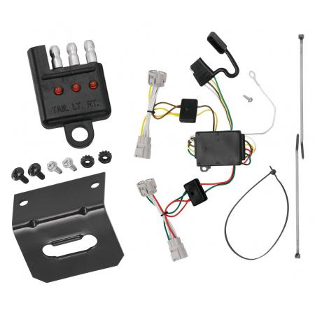 Trailer Wiring and Bracket and Light Tester For 09-15 Toyota Tacoma 93-98 T100 08-12 Hilux 4-Flat Harness Plug Play