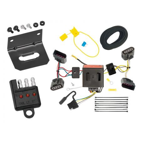 Trailer Wiring and Bracket and Light Tester For 04-10 VW Volkswagen Touareg All Styles 4-Flat Harness Plug Play
