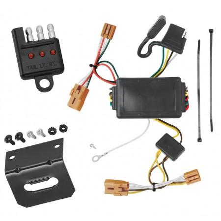 Trailer Wiring and Bracket and Light Tester For 07-11 Chevy Aveo 4 Dr. Sedan 4-Flat Harness Plug Play