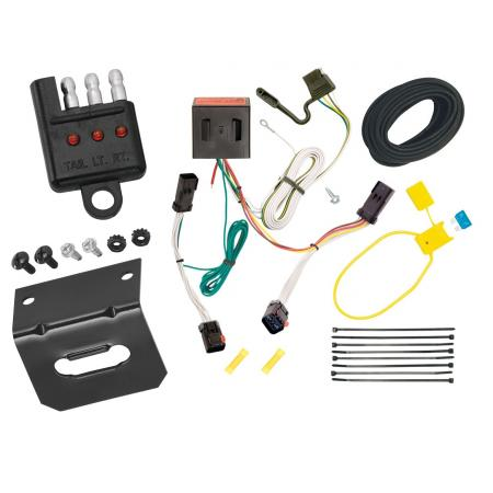 Trailer Wiring and Bracket and Light Tester For 02-07 Jeep Liberty All Styles 4-Flat Harness Plug Play