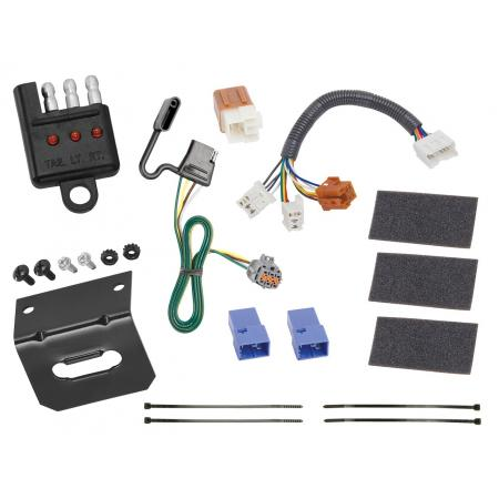 Trailer Wiring and Bracket and Light Tester For 05-20 Nissan Frontier 05-12 Pathfinder 05-15 Xterra 09-12 Equator 4-Flat Harness Plug Play