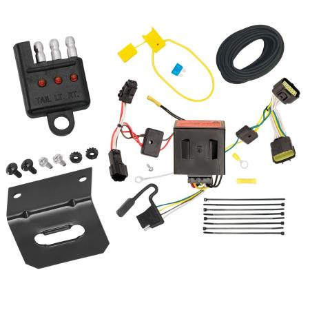 Trailer Wiring and Bracket and Light Tester For 11-16 KIA Sportage All Styles 4-Flat Harness Plug Play