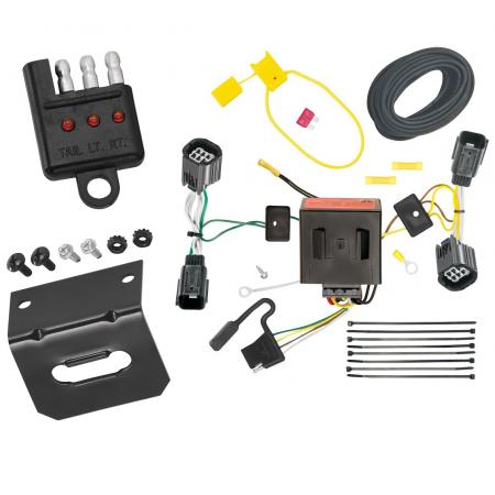 Trailer Wiring and Bracket and Light Tester For 11-20 Dodge Grand Caravan 11-16 Chrysler Town & Country 12-15 RAM C/V Tradesman 4-Flat Harness Plug Play