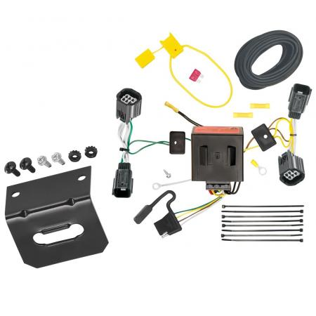 Trailer Wiring and Bracket For 11-20 Dodge Grand Caravan 11-16 Chrysler Town & Country 12-15 RAM C/V Tradesman 4-Flat Harness Plug Play