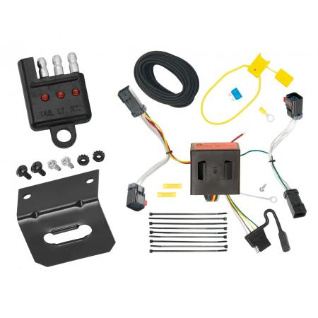 Trailer Wiring and Bracket and Light Tester For 11-17 Jeep Compass (Old Body Style) 4-Flat Harness Plug Play