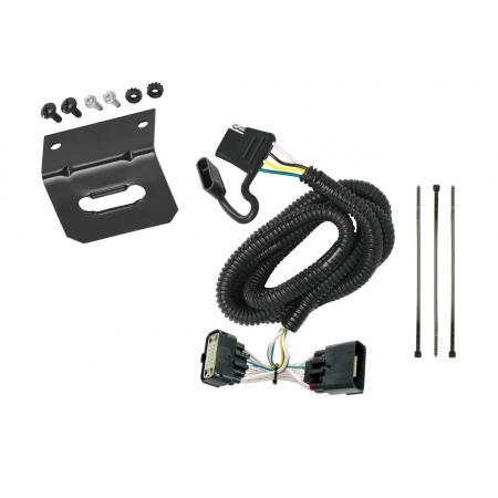 Trailer Wiring and Bracket For 11-19 Ford Explorer All Styles 4-Flat Harness Plug Play