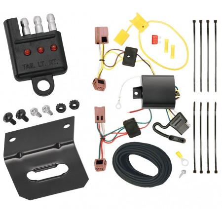Trailer Wiring and Bracket and Light Tester For 07-12 Nissan Versa 5 Dr. Hatchback 4-Flat Harness Plug Play
