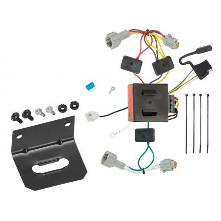 Trailer Wiring and Bracket For 11-17 Nissan Quest All Styles 4-Flat Harness Plug Play