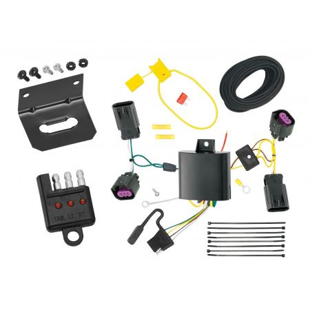 Trailer Wiring and Bracket and Light Tester For 12-20 Dodge Journey without LED Taillights 4-Flat Harness Plug Play