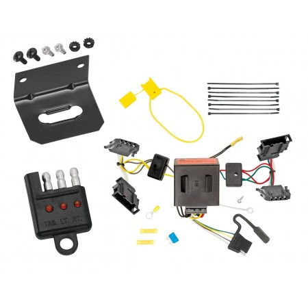 Trailer Wiring and Bracket and Light Tester For 11-18 VW Volkswagen Jetta 4 Dr. Sedan 4-Flat Harness Plug Play