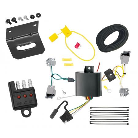 Trailer Wiring and Bracket and Light Tester For 15-17 Chrysler 200 4 Dr. Sedan 4-Flat Harness Plug Play