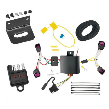 Trailer Wiring and Bracket and Light Tester For 12-16 Chevy Sonic 4-Flat Harness Plug Play