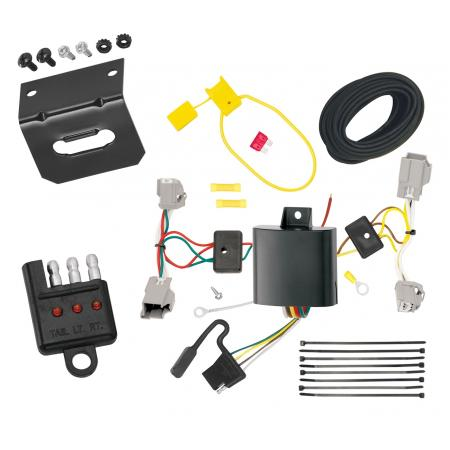 Trailer Wiring and Bracket and Light Tester For 14-19 Ford Fiesta 5 Dr. Hatchback 4-Flat Harness Plug Play