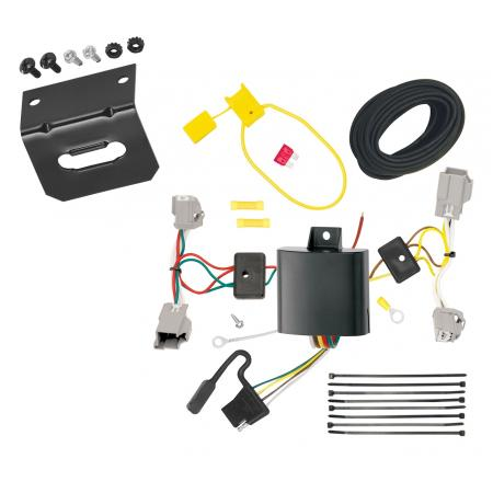 Trailer Wiring and Bracket For 14-19 Ford Fiesta 5 Dr. Hatchback 4-Flat Harness Plug Play