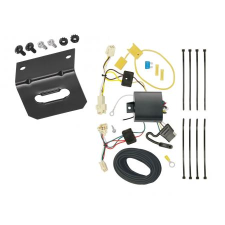 Trailer Wiring and Bracket For 15-19 Toyota Yaris Hatchback 4-Flat Harness Plug Play
