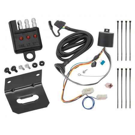 Trailer Wiring and Bracket and Light Tester For 16-20 Honda Pilot All Styles 4-Flat Harness Plug Play