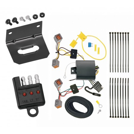 Trailer Wiring and Bracket and Light Tester For 14-19 Volvo S60 Sedan 4-Flat Harness Plug Play