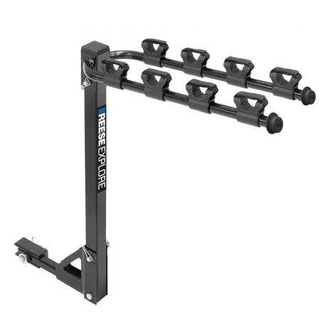 """Reese 4 Bike Rack Carrier Rear Hitch Mount Fits 2 Inch and 1-1/4"""" Receiver Tilt-Away Anti Rattle Pin Car Truck SUV Adult or Child Removable Arms"""