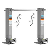 "Pro Series Tandem 12,000 lbs. Square Trailer Jack 26"" Lift Drop Leg Spring Return Pin on Side w/ Crank & Cross Shaft Tube"