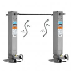 "Pro Series Tandem 12,000 lbs. Square Trailer Jack 12.5"" Lift Drop Leg Spring Return Pin on Side w/ Crank & Cross Shaft Tube"